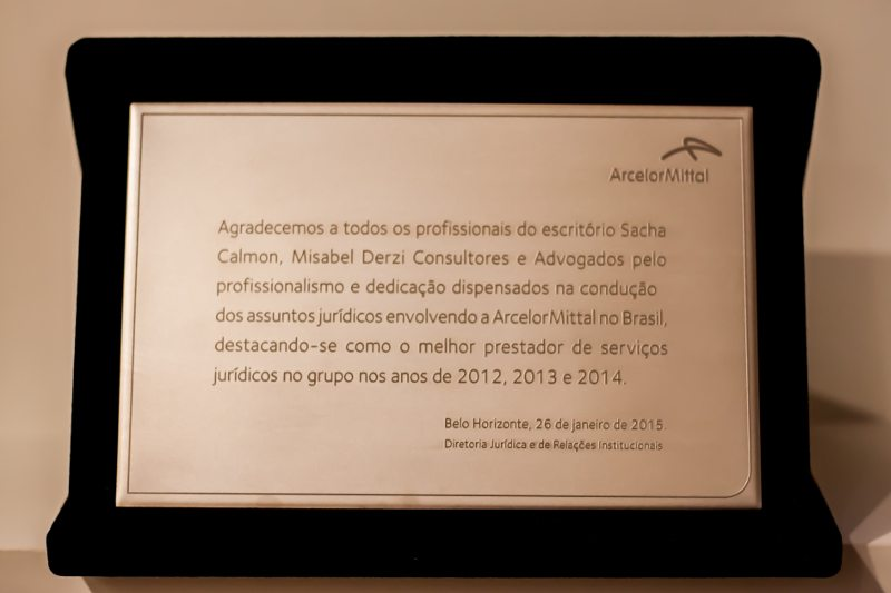 SCMD recebe homenagem da ArcelorMittal Brasil por serviços prestados em 2014